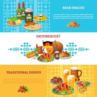 Oktoberfest flat horizontal banners set