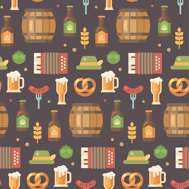 Oktoberfest flat icons pattern