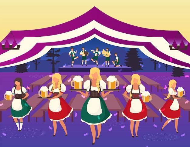 オクトーバーフェストフラットイラスト。民俗音楽パフォーマンス。ビール祭り。飲み物を提供する民族衣装のウェイター。ビールのテント。 volksfest、10月のフェストウェイトレスの漫画のキャラクター