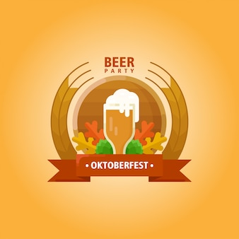 Oktoberfest flat illustration logo