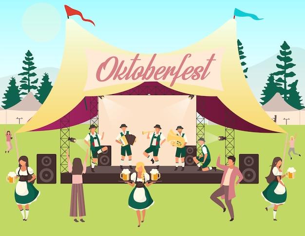 オクトーバーフェストフラットイラスト。音楽とダンス。テントでの民俗演奏。ビール祭り、10月のフェストコンサート。民族衣装を着た人々はビールと踊りを運びます。フォルクスフェストの漫画のキャラクター