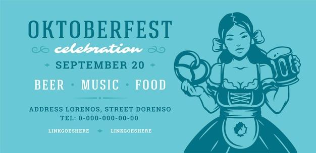Oktoberfest flyer or banner retro typography vector template design willkommen zum invitation beer festival celebration.