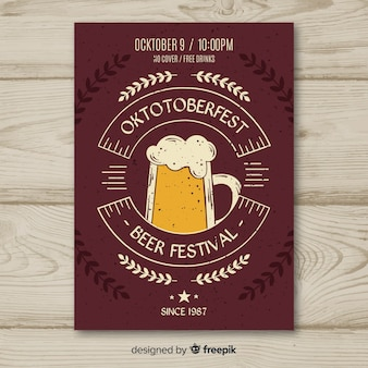 Oktoberfest flyer hand drawn template