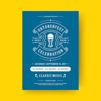 Oktoberfest flyer or poster retro typography template design invitation beer festival celebration