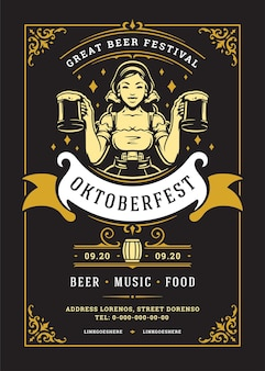 Oktoberfest flyer or poster retro typography template design willkommen zum beer festival celebration vector illustration