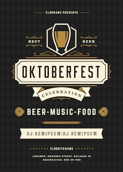 Oktoberfest flyer or poster template with retro design beer festival celebration