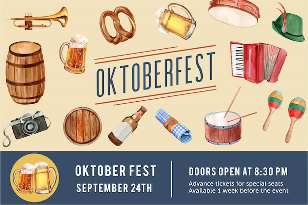 Oktoberfest frame design with beer, pretzel, entertainment watercolor illustration.