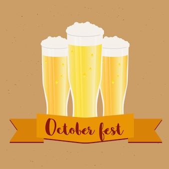 Oktoberfest frame with glasses of beer. poster and banner template. vector illustration