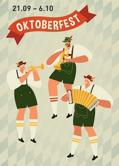 Oktoberfest, funny cartoon characters in bavarian folk costumes of bavaria celebrate poster