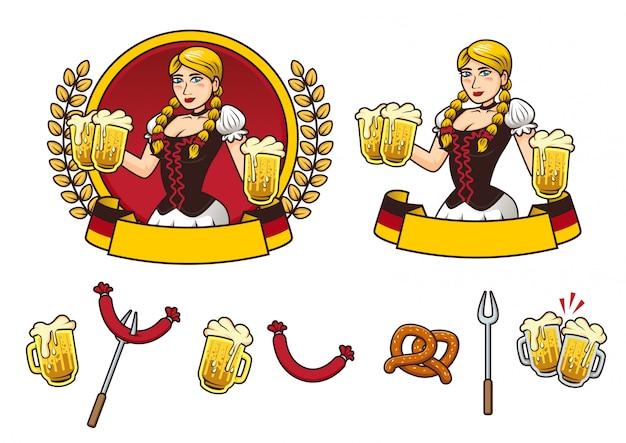Oktoberfest girl logo and element