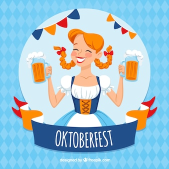 Oktoberfest girl in a traditional costume