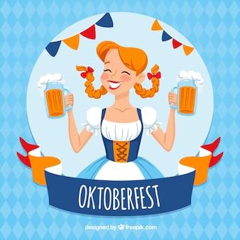 Oktoberfest girl in a traditional costume Premium Vector