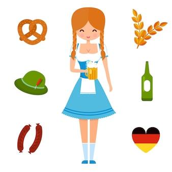 Oktoberfest girl in traditional german dress and symbols of festival beer sausages brezel