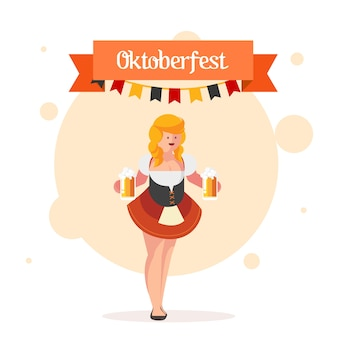 Oktoberfest girl wearing a traditional dress & serving beer