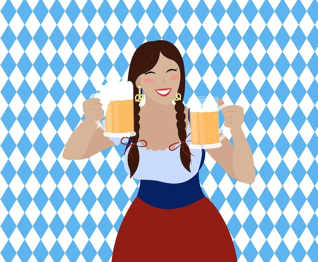 Oktoberfest girl with beer mugs.