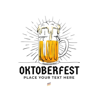 Oktoberfest hand drawn logo badge.