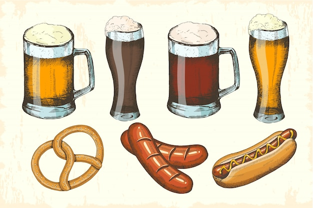 オクトーバーフェスト手描きオブジェクトセット。ソーセージ、プレッツェル、ホットドッグ、さまざまな種類のビール。オクトーバーフェストスケッチ。メニュー、ポスター、バナーのベクトル図