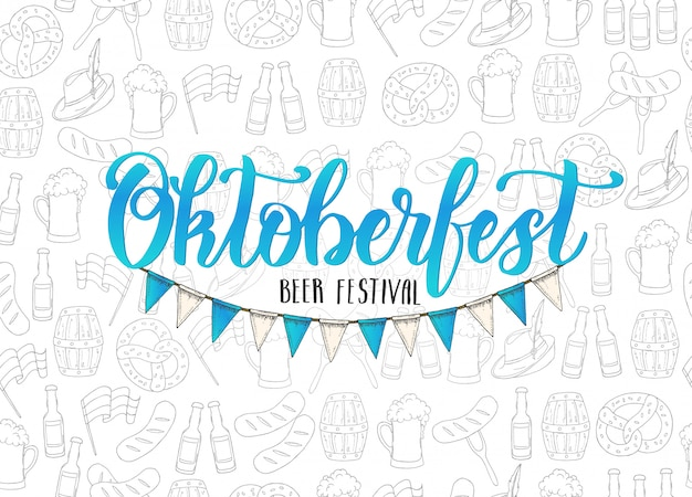 Oktoberfest hand made lettering and flag garland on seamless pattern.