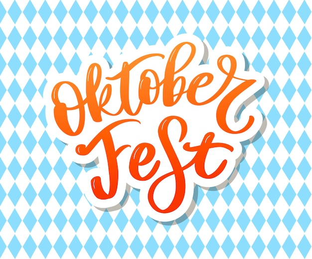 Oktoberfest handwritten lettering. oktoberfest typography   for greeting cards and poster. beer festival vector banner. design template celebration. vector illustration.