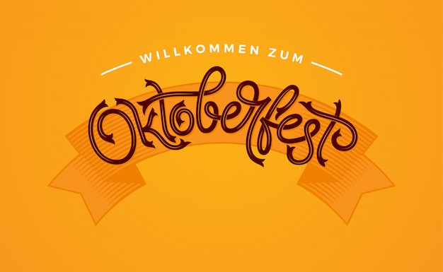 Oktoberfest handwritten typography. oktoberfest lettering   for greeting cards and poster.  illustration. beer festival vector banner.  template celebration.