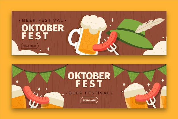 Set di banner orizzontali dell'oktoberfest