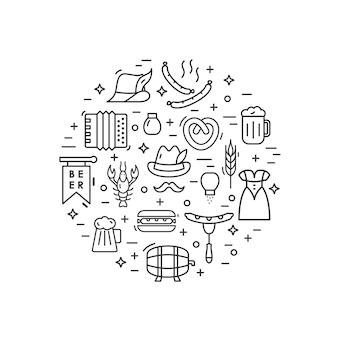 Oktoberfest illustration made in line style vector