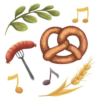 Oktoberfest illustration sausage on a fork, music, roll, notes, twig, ears