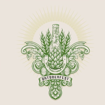 Иллюстрация октоберфест, винтажная гравировка логотипа с ретро орнаментом в старинном стиле рококо. Premium векторы