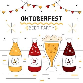 Октоберфест иллюстрация с бутылками пива и гирляндами