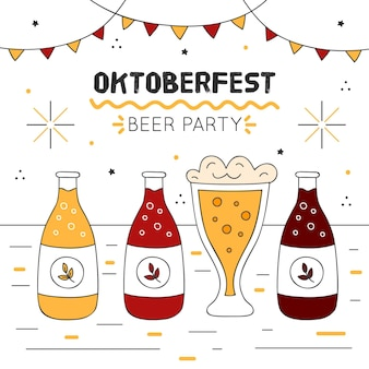 Oktoberfest illustration with beer bottles and garlands
