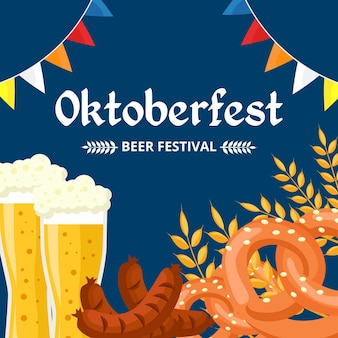 Oktoberfest illustration with beer glasses and pretzels