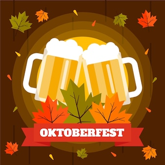 Октоберфест иллюстрация с пивом пинтами и листьями