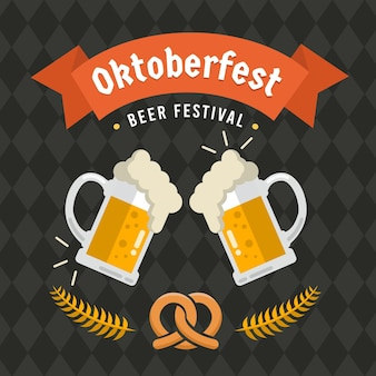 Oktoberfest illustration with beer and pretzel