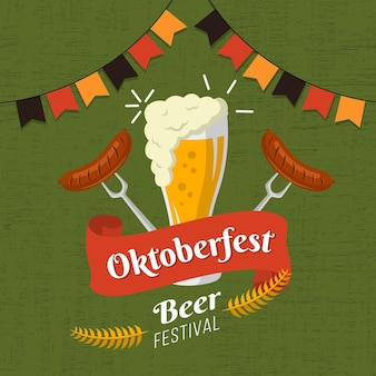 Oktoberfest illustration with beer and sausages
