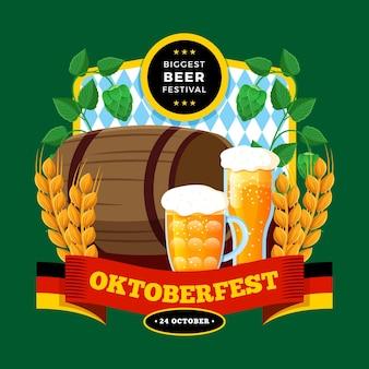 Oktoberfest illustration with beer