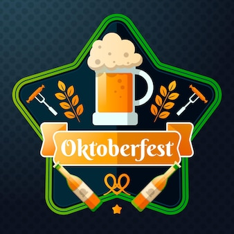 Oktoberfest illustration with pint and bottles