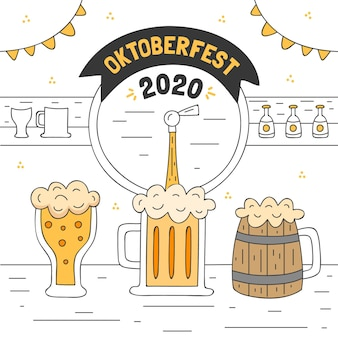 Oktoberfest illustration with pint and glass