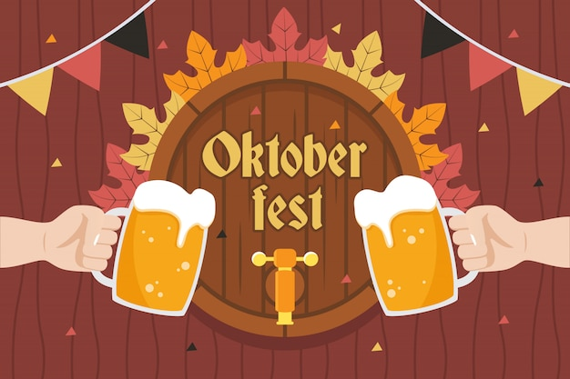 Oktoberfest illustration with two hands holding a glass of beer in front of barrel