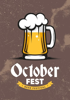 Oktoberfest. international beer day. retro poster, flyer, banner.