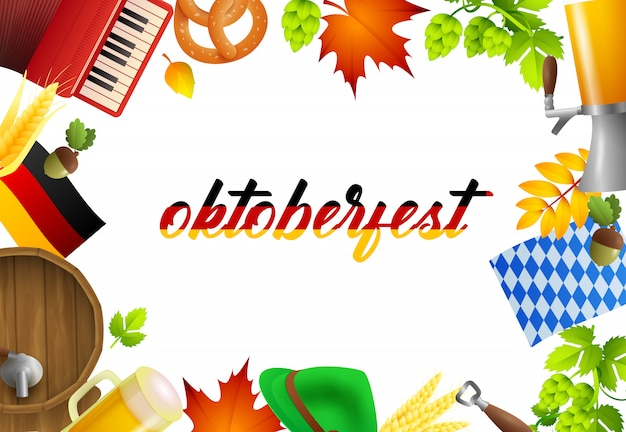 Oktoberfest lettering and party elements