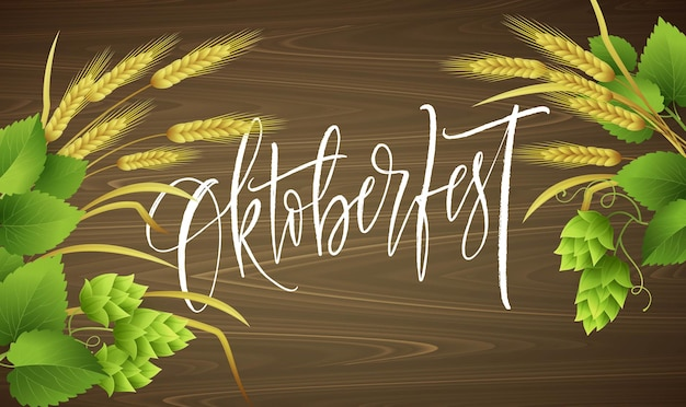 Oktoberfest lettering with leaves and wheat sprigs