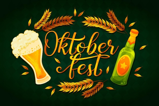 Oktoberfest lettering with pint