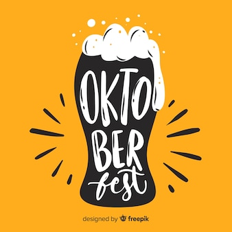 Oktoberfest lettering with yellow background