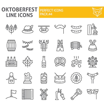 Oktoberfest line icon set, bavarian holiday collection