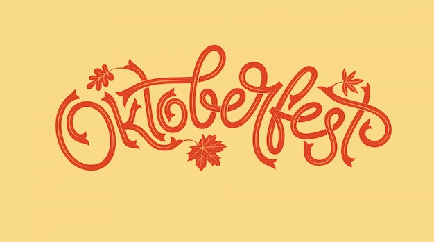 Oktoberfest logotype with maple leaf. beer festival  banner. illustration of bavarian festival  with floral wreath.  lettering for logo, poster, card, postcard, banner.