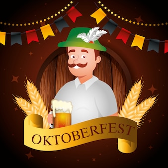 Oktoberfest and man with beer illustration