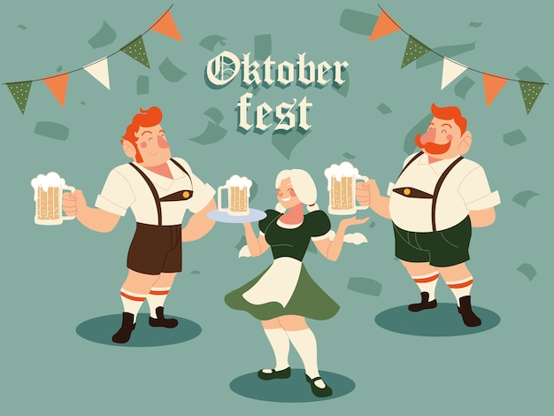 Oktoberfest men and woman with traditional cloth beer and banner pennant illustration, germany festival and celebration theme