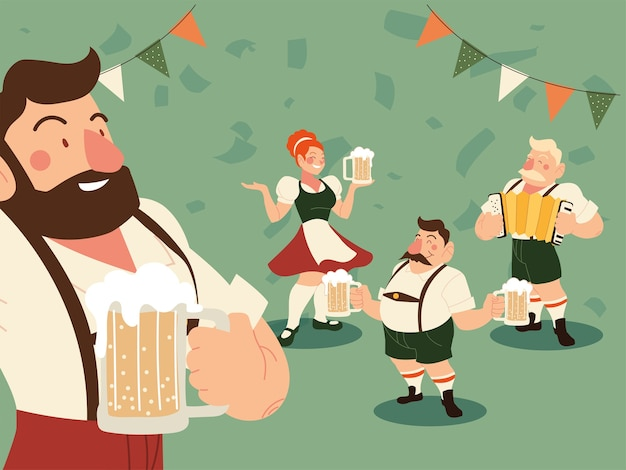Oktoberfest men and woman with traditional cloth beer and pennant illustration, germany festival and celebration theme