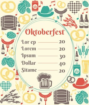 Oktoberfest menu template with an oval frame enclosing a price list surrounded by icons of german beer in bottles  can  tankard  glass  keg or cask  barrel  hops  barley  sausage and a pretzel