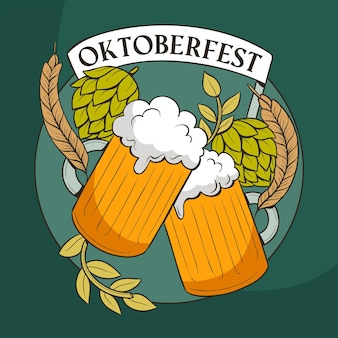 Oktoberfest mugs and hop leaves